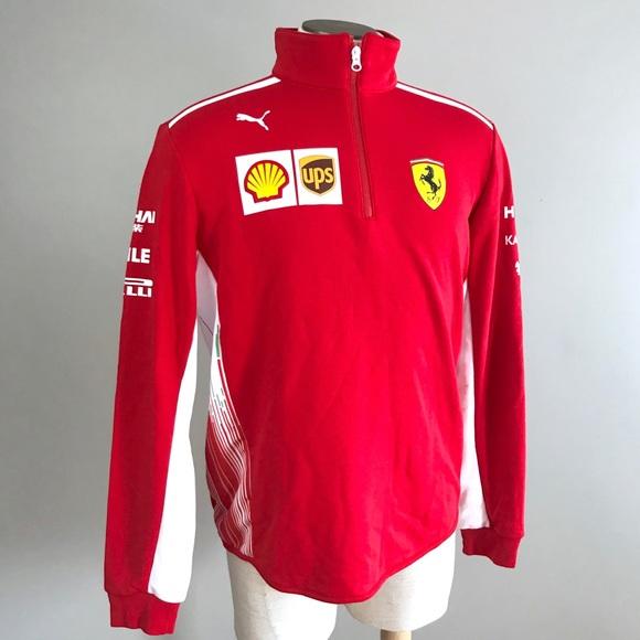 0db4065c892b Ferrari Puma men team half zip fleece red sponsor